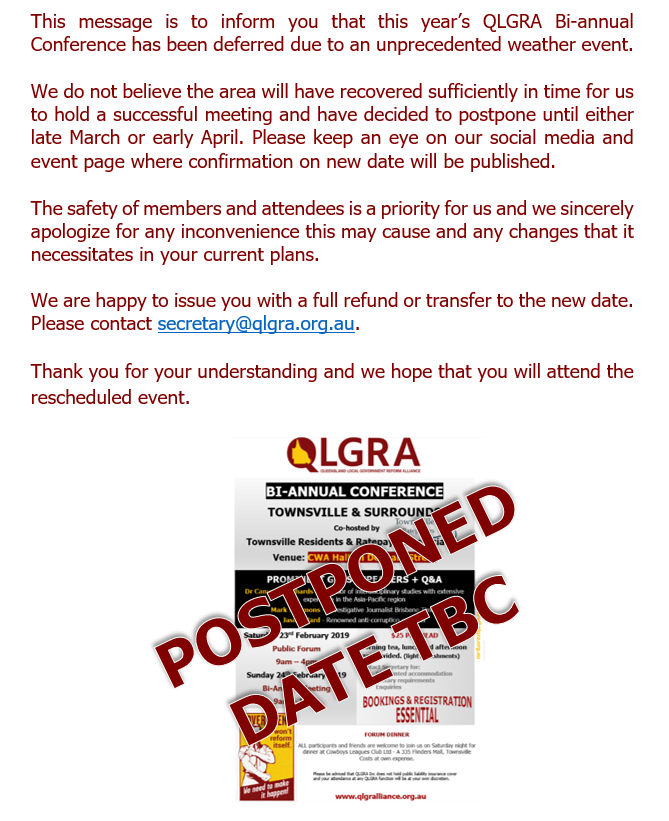 QLGRA Townsville Postponement Notice